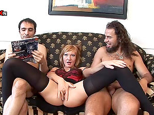 Dual Anal invasion Invasion for Horny Cougar in Underwear