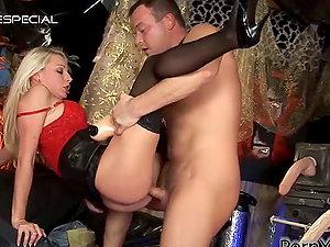 Jizz-shotgun and Fat Fuck stick Make the Day to Elegant Blonde in Underwear Lena Cova