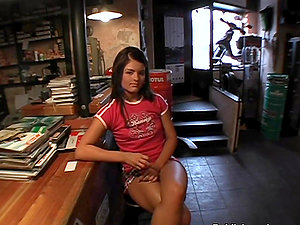 Point of view Buttfuck Hookup in the Bike Shop with Horny Black-haired Fledgling Honey