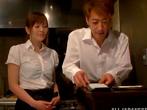 Lustful Japanese waitress gives a oral pleasure to her colleague