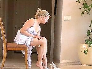 Beautiful and Limber Blonde Woman Doing Gymnastics Naked