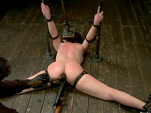 Hot Proxy Paige gets covered with hot paraffin wax and toyed