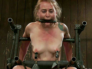 Blonde Payton Bell in Special Restrain bondage Device Getting Toyed
