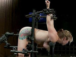 Big Tittied Blonde Adrianna Nicole Toyed for Orgasm in Restrain bondage Flick
