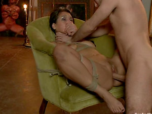 Pretty Vicky Chase gets bonded and screwed on an armchair