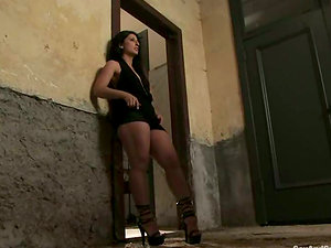 Rich man picks up this black-haired whore and tantalizes her
