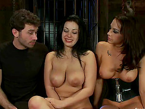 Black-haired chicks use a belt cock and get fucked by a dude