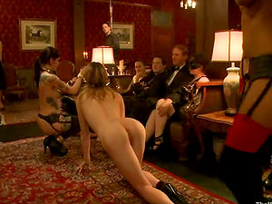 Bonded chicks get fucked and abased at a soiree