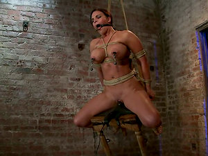Mouse Traps on Mackenzee Pierce's Nips While She's Tied and Toyed
