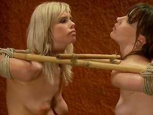 Tied up blonde and dark haired get toyed and abased
