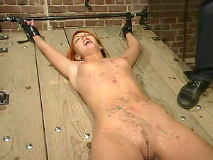 Sandy-haired gets crossed on the table and waxed