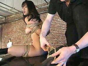 Gorgeous Asian siren Mika Sunburn is under anguish in garage