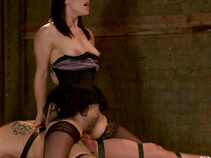 Restrain bondage Pegging and Face Sitting in Female dominance Vid with Bobbi Starr