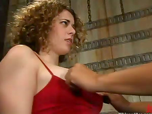 Curly Milky chick gets toyed by DragonLily with a belt dick