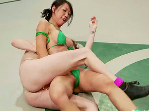 Asian and ginger-haired chicks and have fuck-a-thon in a dressing room