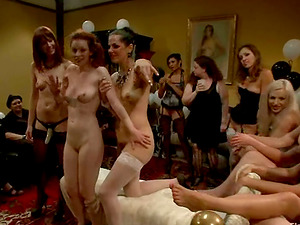 Sapphic Female domination Group sex with Restrain bondage and Crazy Playing Activity