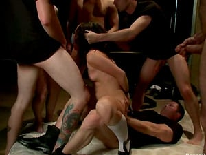 Nice nymph in school uniform gets bounded and group-fucked