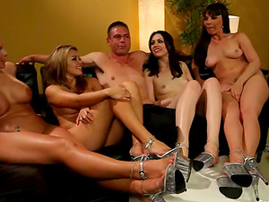 Foot worship Switch roles Gang-bang with Four Damsels Having Joy with One man sausage