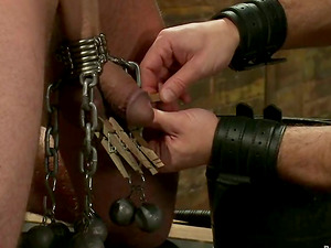 A dark-haired faggot gets strapped and fucked hard by his horny acquaintance