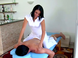 Lusty Latina masseuse Channell gets that hard penis