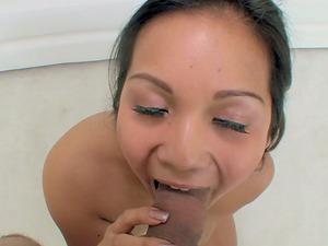 Lana Violet gets facialed after sucking a man rod thirstily