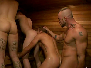 Christian Wilde gets tied up and fucked in a sauna