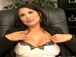 Sophia Lomeli gets fucked by a long-haired dude in an office