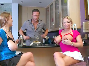Two horny and buxomy chicks are on a big man sausage