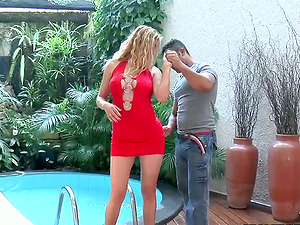 Lusty and sassy blondie is railing her man by the pool