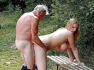 Supah Buxomy Blonde Stunner Gets Fucked By an Old Man Outdoors