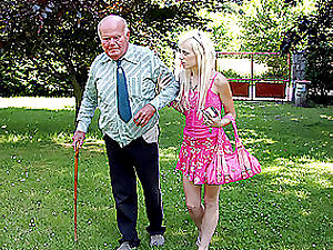 Trampy Blonde Nubile Deep-throats and Fucks an Old Fart's Gross Shaft Outdoors