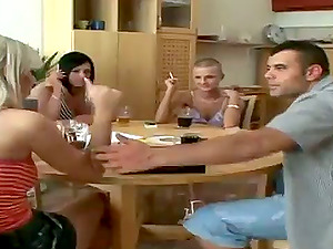 Euro Group Bang-out Activity with Three Stunners and Their Round Butts
