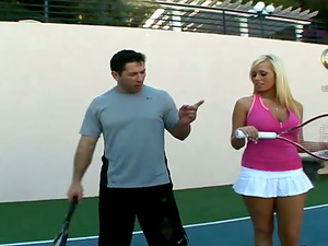 Angelina Ashe Learns to Hit a Backhand and Suck and Fuck on Tennis Court