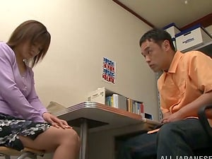Ai Komori Japanese Dame in Underwear Gets on Her Knees to Give Head