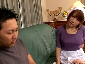 Japanese Maid Shows Her Undies to Her Chief so He Can Masturbate Off