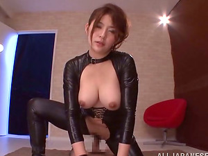 Foxy Japanese Nymph in Spandex Suck off and Rails Jizz-shotgun for Facial cumshot in Point of view