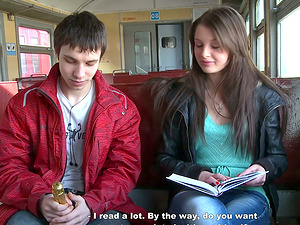 Trampy Beautiful Female Meets Two Guys in the Train and Has a Threesome