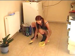 Ultra-cute Lady in Ponytails Gets Her Taut Arse Spanked Hard