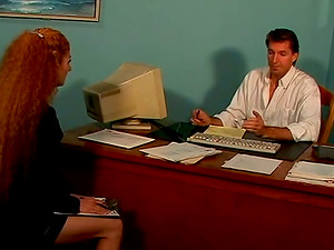 Curly Annie Bod gets her hairy vagina fucked in an office