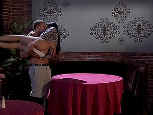 Kaylani Lei Rails A Hard Penis On Top Of A Restaurant Table