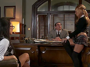 Awesome Jizm Exchanging Office Threesome with Asa Akira and Kirsten Price