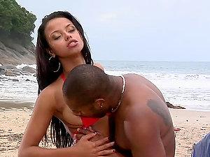 Interracial Beach Ass fucking Bang-out for Brazilian Honey Marcella Moraes