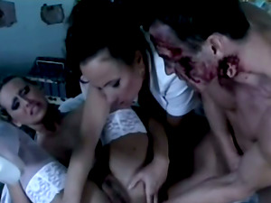 Two Sexy Nurses Gets Hard Manstick In Nasty Threesome Fuck-a-thon