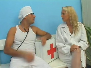 This nurse has a excellent bald cootchie and she likes to get it slammed with man rod