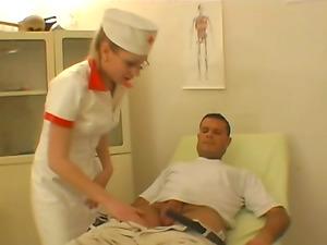 Hot Blonde Nurse In Glasses Checking Patient Big Jizz-shotgun