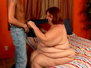 Mature Ginger-haired BBW Bi-atch Fucking Slender Bald Dude In The Sofa