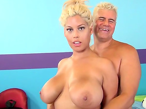 Blonde Bitch With Massive Melons Is Ready For That Stiff Man sausage