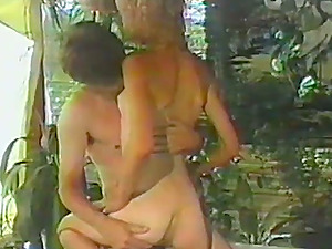 Skinny woman rails a dick and sits on man's face in a retro flick