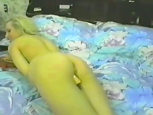 Horny blondie is going to masturbate so hard