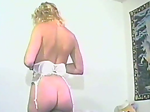A blonde chick in milky underwear gets fucked in a retro flick